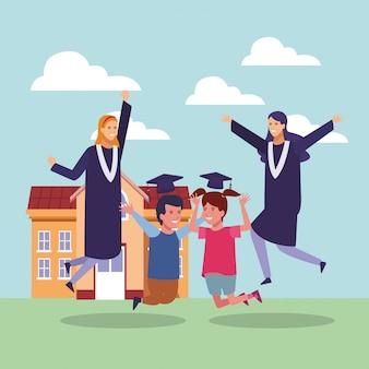 Dibujos animados de graduación de estudiantes