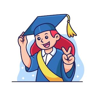 Dibujos animados de graduación de niña con pose linda. ilustración de icono académico, aislado