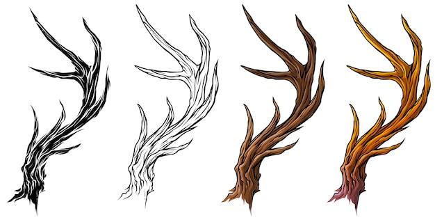 Dibujos animados grandes ciervos cuernos o cuernos vector conjunto