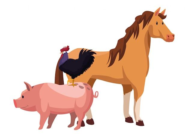 Dibujos animados de granja, animales y granjero