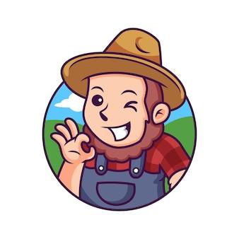 Dibujos animados de granjero con pose linda. ilustración de icono. concepto de icono de persona aislado