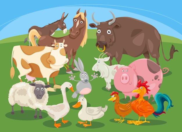 Dibujos animados de grupo de animales de granja