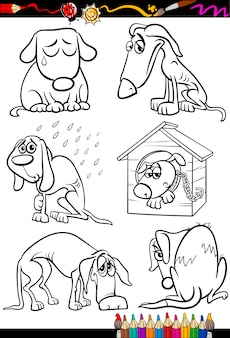 Dibujos animados de grupo de perros tristes para colorear