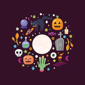Dibujos animados de halloween alrededor del diseño del círculo, tema de miedo