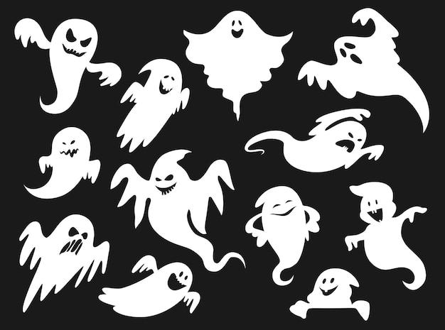 Dibujos animados de halloween fantasmas espeluznantes y aterradores, monstruos espirituales y ghoul, siluetas blancas vectoriales. fiesta de halloween divertidos fantasmas lindos abucheos o poltergeist con sonrisa o caras sonrientes y aterradoras