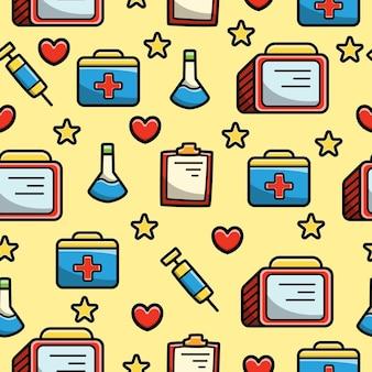 Dibujos animados de herramienta de hospital doodle diseño de patrones sin fisuras