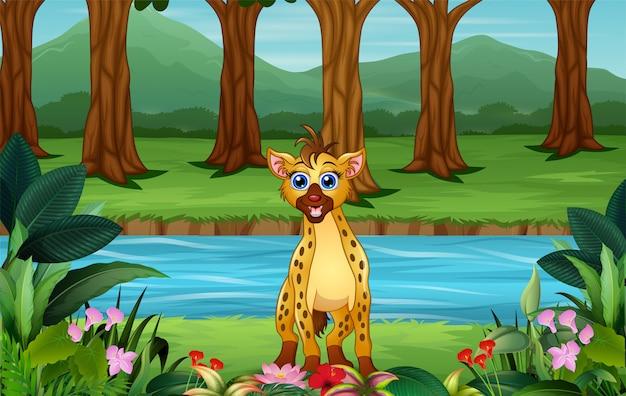 Dibujos animados de hiena de pie junto al río