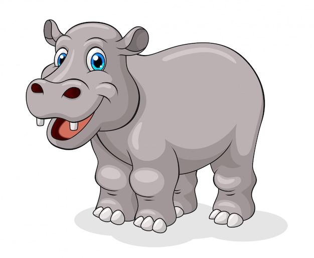 Dibujos animados de hipopótamo adorable