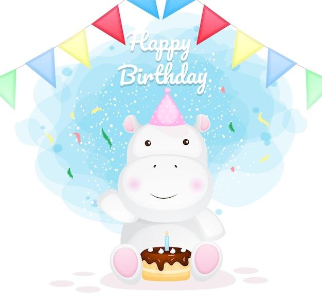 Dibujos animados de hipopótamo feliz cumpleaños