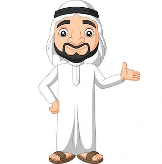 Dibujos animados hombre de arabia saudita agitando