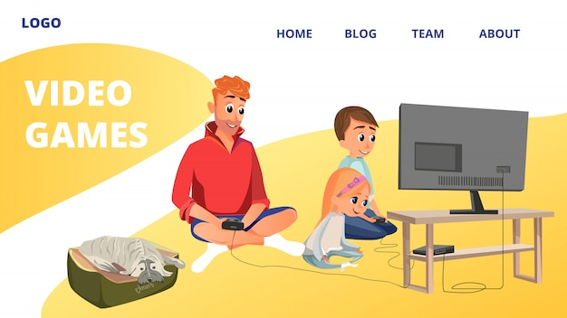 Dibujos animados hombre chico chica jugar videojuego sentarse en el piso