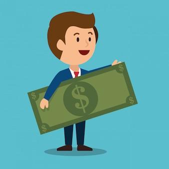 Dibujos animados hombre dinero ganancias diseño aislado