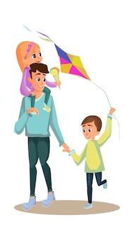 Dibujos animados hombre llevar niña helado niño con cometa juguete