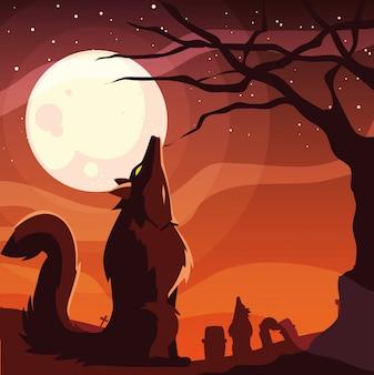 Dibujos animados de hombre lobo de halloween