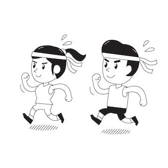 Dibujos animados de un hombre y una mujer corriendo juntos