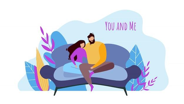 Dibujos animados hombre mujer pareja sentados juntos en el sofá