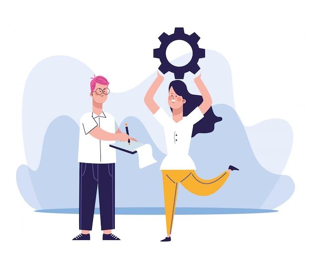 Dibujos animados hombre y mujer sosteniendo una rueda dentada
