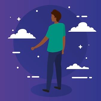 Dibujos animados de hombre negro con diseño de nubes, chico, persona masculina, personas, redes sociales humanas y tema de retrato