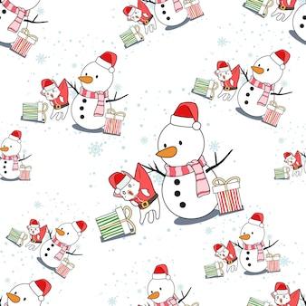 Dibujos animados de hombre de nieve y gato de santa claus de patrones sin fisuras