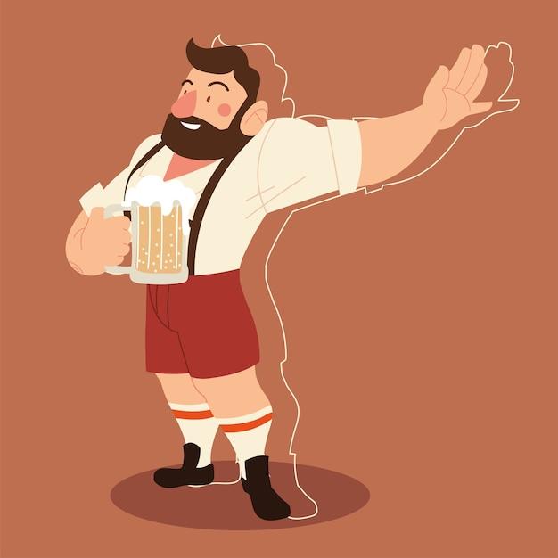 Dibujos animados de hombre oktoberfest con diseño tradicional de tela y cerveza, festival de alemania y celebración ilustración