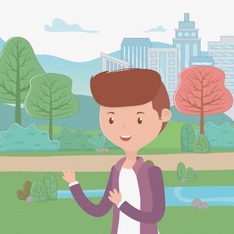 Dibujos animados de hombre en el parque