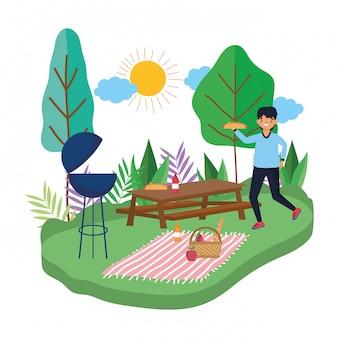Dibujos animados hombre teniendo picnic