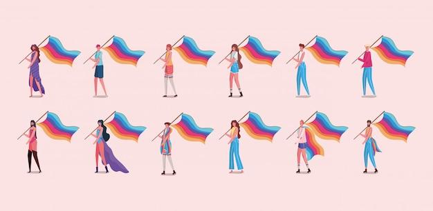 Dibujos animados de hombres y mujeres con disfraces y diseño de banderas lgtbi