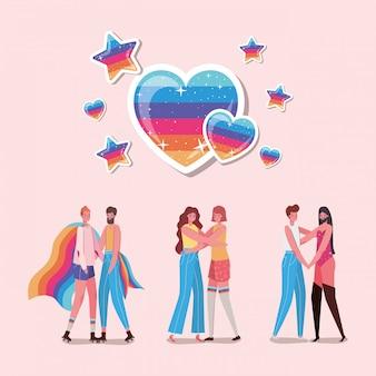 Dibujos animados de hombres y mujeres con disfraces y diseño de corazones lgtbi