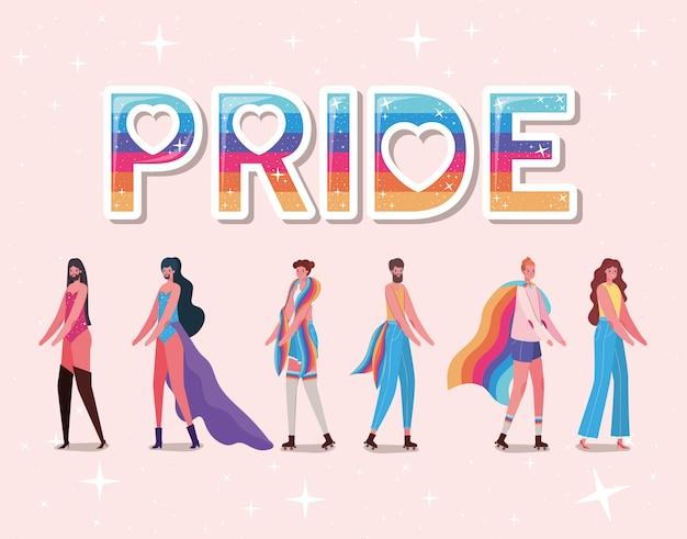 Dibujos animados de hombres y mujeres con disfraces y diseño de texto de orgullo lgtbi