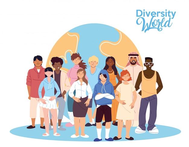 Dibujos animados de hombres y mujeres frente al diseño mundial, tema de diversidad cultural y de amistad