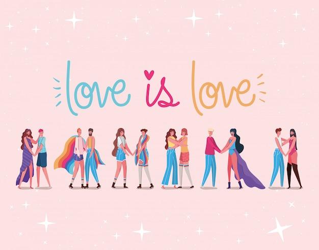 Dibujos animados de hombres y mujeres y lgtbi love is love diseño de texto