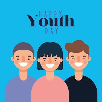 Dibujos animados de hombres y mujeres sonriendo de feliz día de la juventud