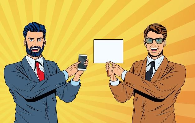 Dibujos animados de hombres de negocios de arte pop