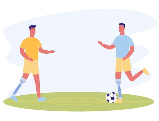 Dibujos animados de hombres con pierna protésica jugar al fútbol