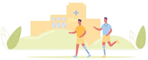 Dibujos animados hombres prótesis pierna ejecutar hospital edificio