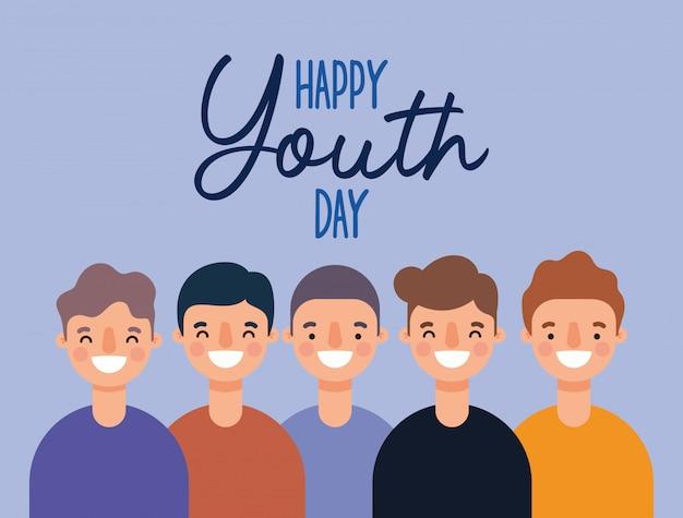 Dibujos animados de hombres sonriendo de feliz día de la juventud