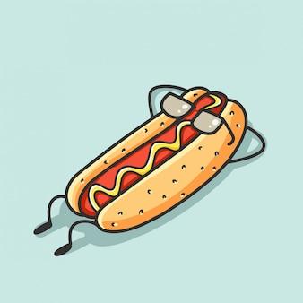 Dibujos animados de hotdog relajarse