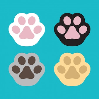 Dibujos animados de huella de vector de pata de perro