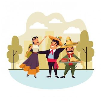 Dibujos animados de icono de cultura tradicional mexicana