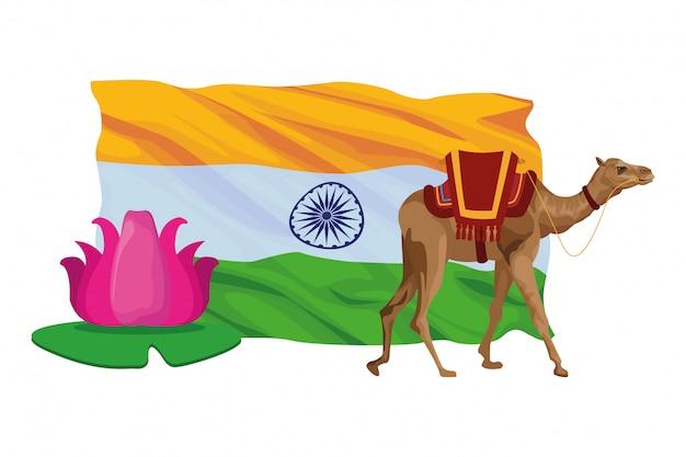 Dibujos animados de icono de flor de loto y camello
