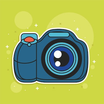 Dibujos animados de icono de medios de cámara de fotos