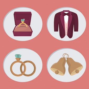 Dibujos animados de iconos de día de boda