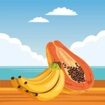Dibujos animados de iconos de frutas tropicales exóticos