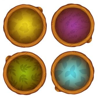 Dibujos animados iconos redondos de madera del juego