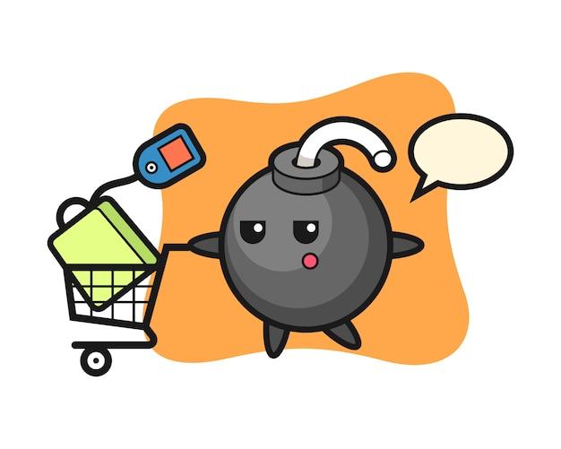 Dibujos animados de ilustración de bomba con un carrito de compras