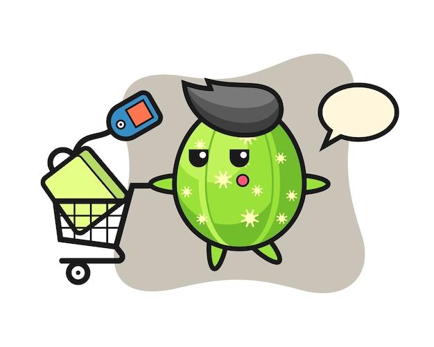 Dibujos animados de ilustración de cactus con un carrito de compras