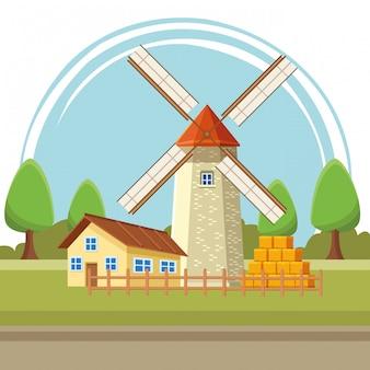 Dibujos animados de ilustración de casa y molino de viento