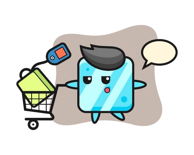 Dibujos animados de ilustración de cubo de hielo con un carrito de compras