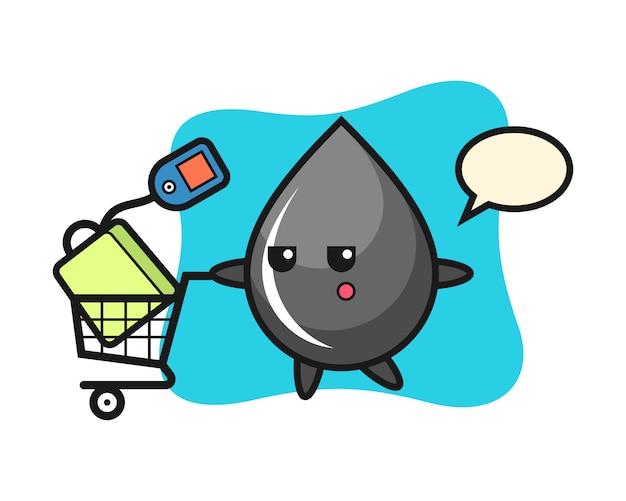 Dibujos animados de ilustración de gota de aceite con un carrito de compras
