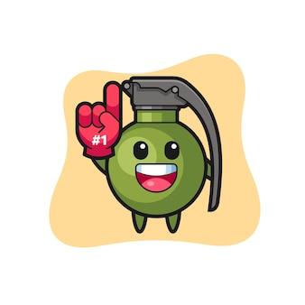 Dibujos animados de ilustración de granada con guante de fans número 1, diseño de estilo lindo para camiseta, pegatina, elemento de logotipo